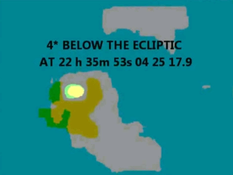 below ecliptic